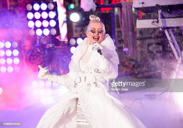 Christina Aguilera performs during New Year's Eve 2019 in Times Square on December 31 2018 in New York City
