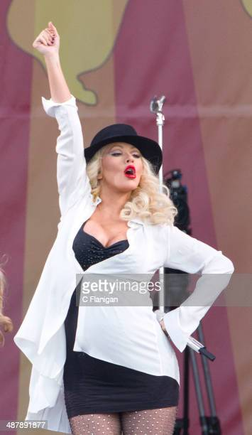 Christina Aguilera performs during the 2014 New Orleans Jazz Heritage Festival at Fair Grounds Race Course on May 2 2014 in New Orleans Louisiana