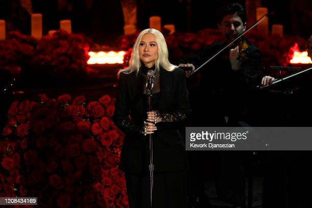 Christina Aguilera performs during The Celebration of Life for Kobe Gianna Bryant at Staples Center on February 24 2020 in Los Angeles California