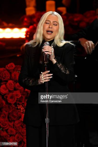 Christina Aguilera performs during The Celebration of Life for Kobe & Gianna Bryant at Staples Center on February 24, 2020 in Los Angeles, California.