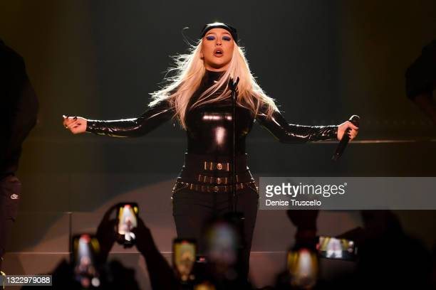 Christina Aguilera performs during the Unstoppable Weekend grand opening celebration at The Theater at Virgin Hotels Las Vegas on June 10, 2021 in...