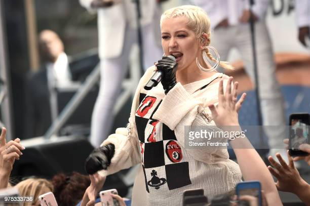 Christina Aguilera performs live on stage on NBC's 'Today' at Rockefeller Plaza on June 15 2018 in New York City