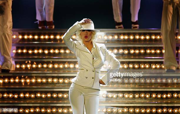 Christina Aguilera performs on stage during her 'Back to Basics' tour at Wembley Arena on November 29 2006 in London England