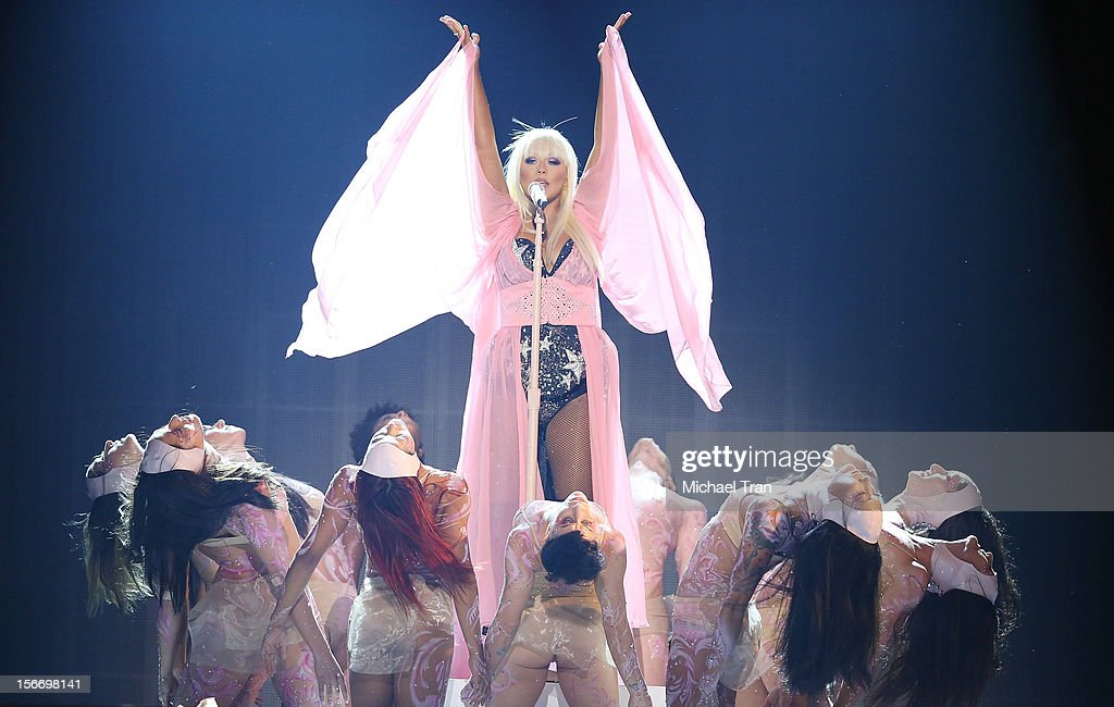Christina Aguilera performs onstage at The 40th American Music Awards held at Nokia Theatre L.A. Live on November 18, 2012 in Los Angeles, California.