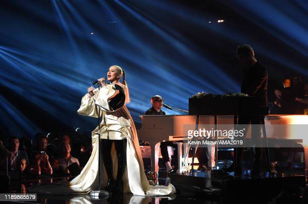Christina Aguilera performs onstage during the 2019 American Music Awards at Microsoft Theater on November 24 2019 in Los Angeles California