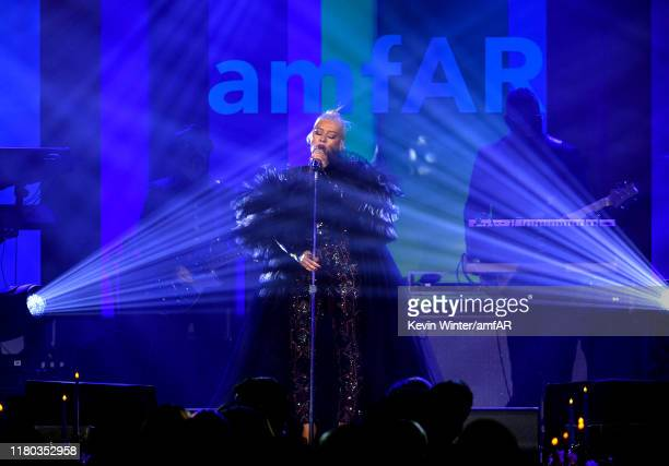 Christina Aguilera performs onstage during the 2019 amfAR Gala Los Angeles at Milk Studios on October 10, 2019 in Los Angeles, California.