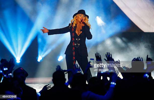 Christina Aguilera performs prior to the start of the 2015 NBA AllStar Game at Madison Square Garden on February 15 2015 in New York City The Western...