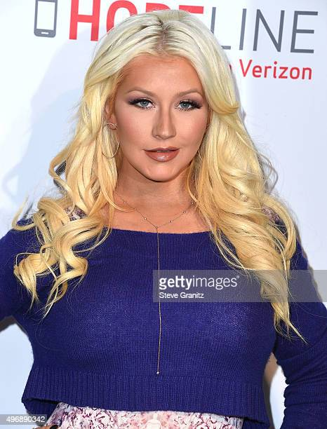 Christina Aguilera Raises Awareness About Domestic Violence With Verizon's HopeLine Program at The London Hotel on November 12, 2015 in West...