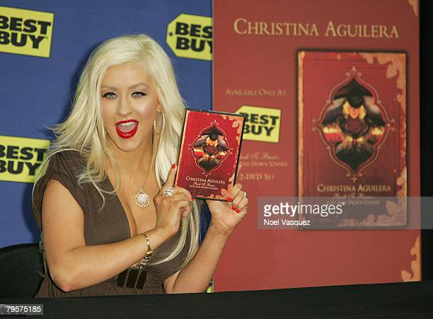 Christina Aguilera signs copies of Back to Basics Live And Down Under DVD at the West Hollywood Best Buy on February 5 2008 in West Hollywood...
