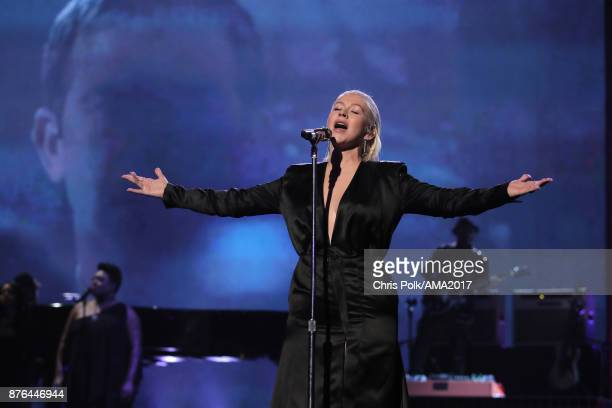 Christina Aguilera sings tribute to Whitney Houston onstage during the 2017 American Music Awards at Microsoft Theater on November 19 2017 in Los...