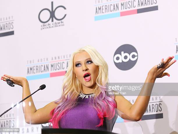Christina Aguilera speaks at the 40th Anniversary American Music Awards nominations announcement held at JW Marriott Los Angeles at LA LIVE on...