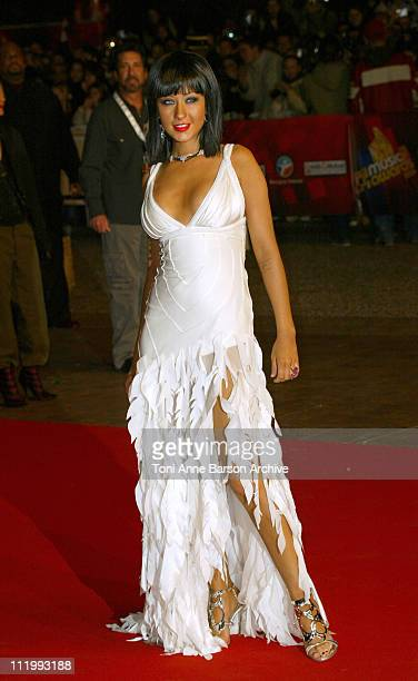 Christina Aguilera wearing Carlos Miele during 2004 NRJ Music Awards Arrivals at Palais des Festivals in Cannes France