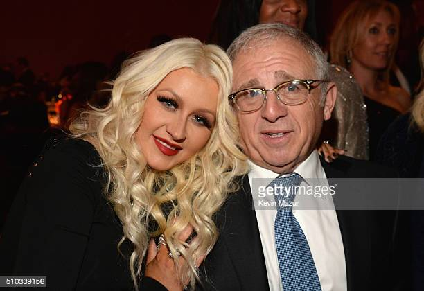 Christina Agullera and Irving Azoff attend the 2016 PreGRAMMY Gala and Salute to Industry Icons honoring Irving Azoff at The Beverly Hilton Hotel on...