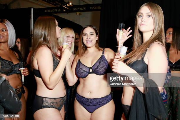 Christina Andrew and models celebrate backstage for the ADDITION ELLE NYFW September 2017 Presentation on September 11 2017 in New York City