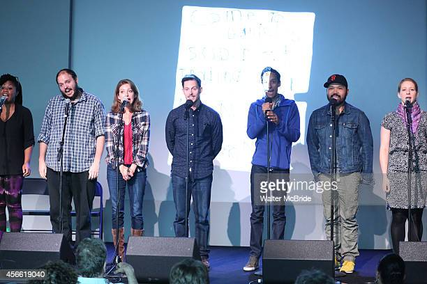 Christina Anthony Daniel Everidge Sandy Rustin Andrew Call Danny Pudi Orville Mendoza and Molly Pope from the cast of 'Found' attend an Exclusive...