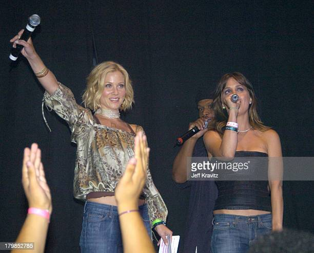Christina Applegate and Eliza Dushku during Rock The Vote 2004 National Bus Tour Concert June 16 2004 at Avalon in Hollywood California United States