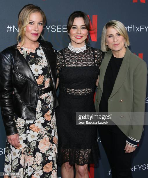 """Christina Applegate, Linda Cardellini and Liz Feldman attend the """"Dead To Me"""" #NETFLIXFYSEE For Your Consideration Event held at Raleigh Studios on..."""