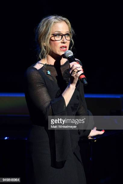 Christina Applegate speaks onstage during the 5th Annual Light Up the Blues Concert an Evening of Music to Benefit Autism Speaks at Dolby Theatre on...