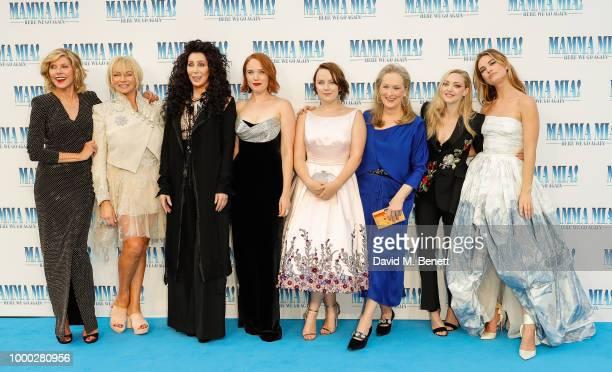 Christina Baranski Judy Cramer Cher Jessica Keenan Wynn Alexa Davies Meryl Streep Amanda Seyfried and Lily James attend the UK Premiere of 'Mamma Mia...