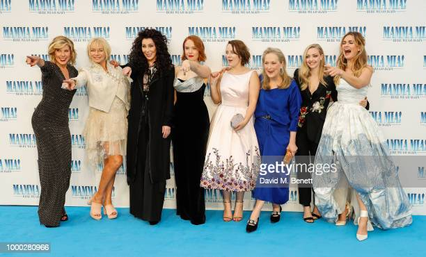 Christina Baranski Judy Cramer Cher Jessica Keenan Wynn Alexa Davies Meryl Streep Amanda Seyfried and Lily James attend the UK Premiere of Mamma Mia...