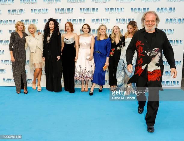 Christina Baranski Judy Cramer Cher Jessica Keenan Wynn Alexa Davies Meryl Streep Amanda Seyfried Lily James and Benny Andersson attend the UK...