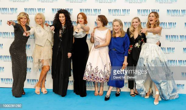 Christina Baranski Judy Cramer Cher Jessica Keenan Wynn Alexa Davies Meryl Streep Amanda Seyfried and Lily James attend the UK Premiere of Mamma Mia...