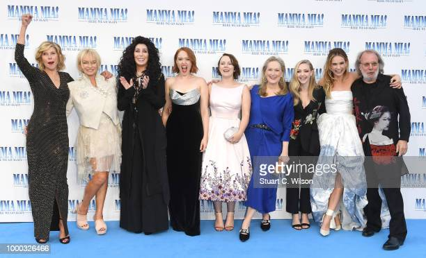 Christina Baranski Judy Cramer Cher Jessica Keenan Wynn Alexa Davies Meryl Streep Amanda Seyfried Lily James and Benny Andersson attend the Mamma Mia...