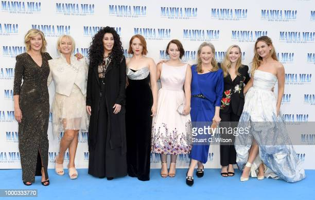 Christina Baranski Judy Cramer Cher Jessica Keenan Wynn Alexa Davies Meryl Streep Amanda Seyfried and Lily James attend the 'Mamma Mia Here We Go...