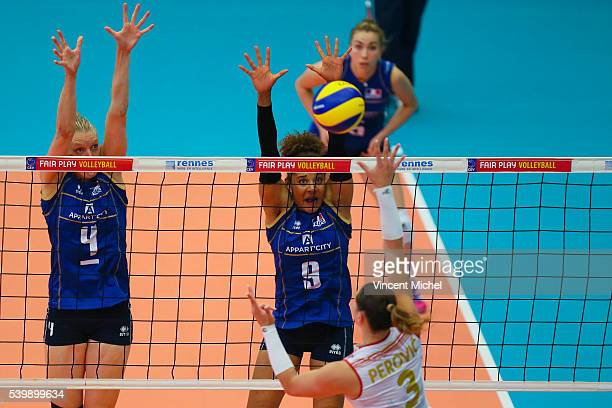 Christina Bauer of France and Elisabeth Fedele of France during the CEV European League match at Salle Colette Besson on June 11 2016 in Rennes France