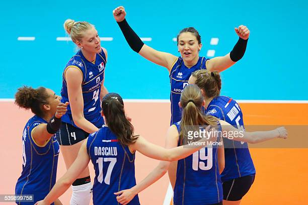 Christina Bauer of France and Helena Cazaute of France during the CEV European League match at Salle Colette Besson on June 11 2016 in Rennes France