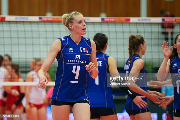 Christina Bauer of France during the CEV European League match at Salle Colette Besson on June 11 2016 in Rennes France