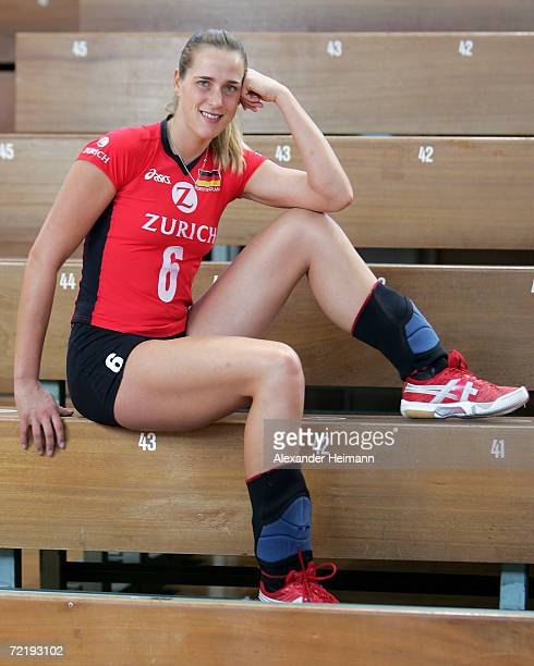 Christina Benecke poses for photographs during the photo call of the Women German National Volleyball Team on October 16 2006 in Heidelberg Germany
