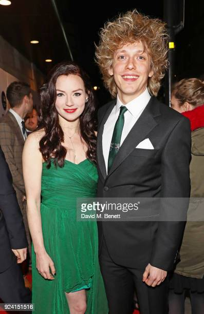 Christina Bennington and Andrew Polec attend the 18th Annual WhatsOnStage Awards at the Prince Of Wales Theatre on February 25 2018 in London England
