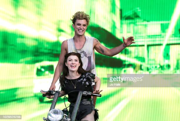 Christina Bennington and Andrew Polec of Bat out of Hell The Musical perform during BBC Proms in the Park at Hyde Park on September 8 2018 in London...