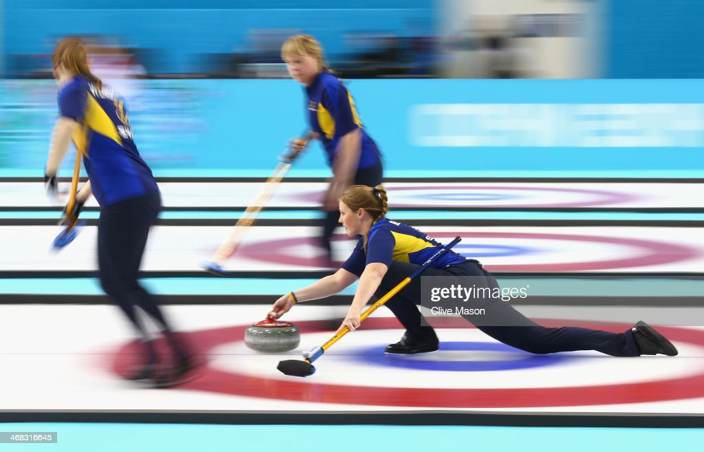 Christina Bertrup of Sweden in action during the round robin match against Great Britain during day 3 of the Sochi 2014 Winter Olympics at Ice Cube Curling Center on February 10, 2014 in Sochi, Russia.