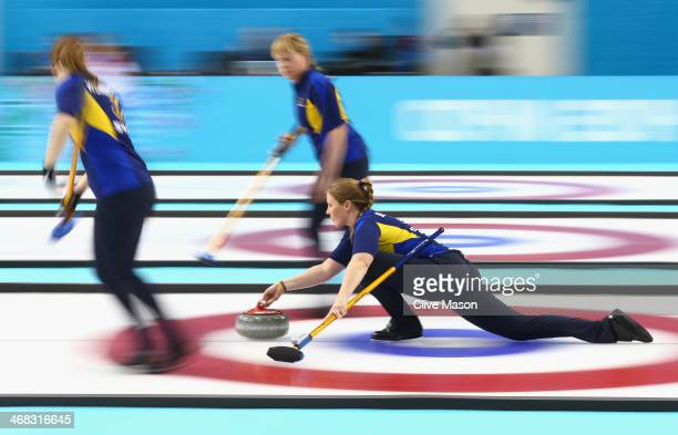 Christina Bertrup of Sweden in action during the round robin match against Great Britain during day 3 of the Sochi 2014 Winter Olympics at Ice Cube...