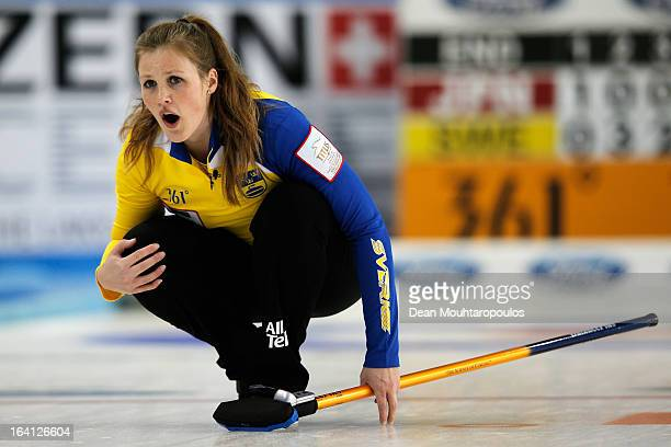 Christina Bertrup of Sweden looks on after she throws a stone in the match between Japan and Sweden on Day 5 of the Titlis Glacier Mountain World...