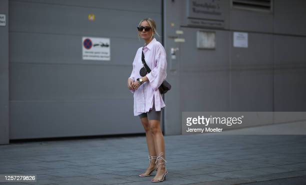 Christina Bischof wearing complete Zara look and Louis Vuitton pochette bag on July 20, 2020 in Munich, Germany.