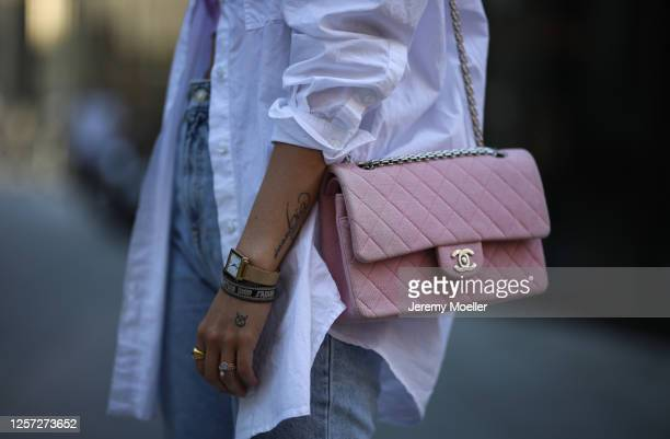Christina Bischof wearing Zara jeans, Edited blouse and Chanel bag on July 20, 2020 in Munich, Germany.