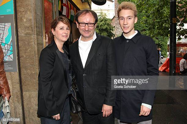Christina Bock, Rainer Bock and son Moritz Bock attend the 'Bornholmer Strasse' Premiere as part of Filmfest Muenchen 2014 on June 28, 2014 in...
