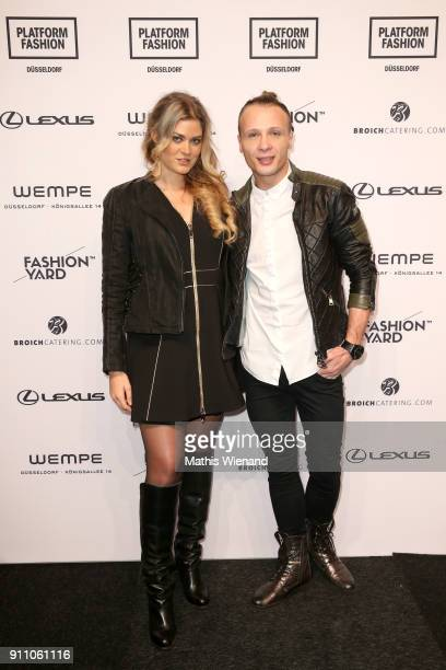Christina Braun and Emil Kusmirek attend the Fashionyard show during Platform Fashion January 2018 at Areal Boehler on January 27 2018 in Duesseldorf...