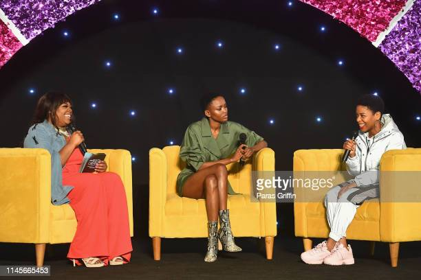 Christina Brown Flaviana Matata and Gracie J speak on stage during the 2019 ESSENCE Beauty Carnival Day 2 on April 28 2019 in New York City