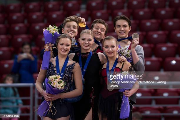 Christina Carreira and Anthony Ponomarenko of the United States Anastasia Skoptcova and Kirill Aleshin of Russia Arina Ushakova and Maxim Nekrasov of...