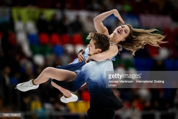 Christina Carreira and Anthony Ponomarenko of the United States compete in the Ice Dance Free Dance during day 2 of the ISU Grand Prix of Figure...