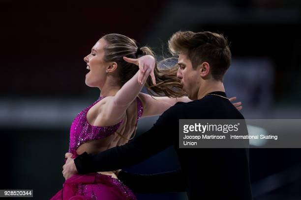 Christina Carreira and Anthony Ponomarenko of the United States compete in the Junior Ice Dance Short Dance during the World Junior Figure Skating...
