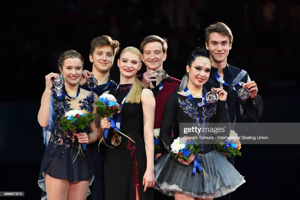 Christina Carreira and Anthony Ponomarenko of the USA (silver), Anastasia Skoptcova and Kirill Aleshin of Russia (gold) and Sofia Polishchuk and Alexander Vakhnov of Russia (bronze) pose on the podium after the Junior ice dance free dance during the ISU Junior & Senior Grand Prix of Figure Skating Final at Nippon Gaishi Hall on December 9, 2017 in Nagoya, Japan.