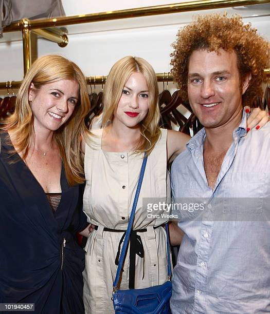 Christina Cessna actress Laura Ramsey and stylist Tom Soluri attend the Foley Corinna Melrose Avenue Event With Poshglamcom at Foley Corinna on June...