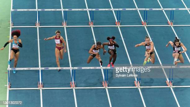 Christina Clemon of the United States competes in the women's 60m hurdles final during the World Athletics Indoor Tour at Arena Stade Couvert on...