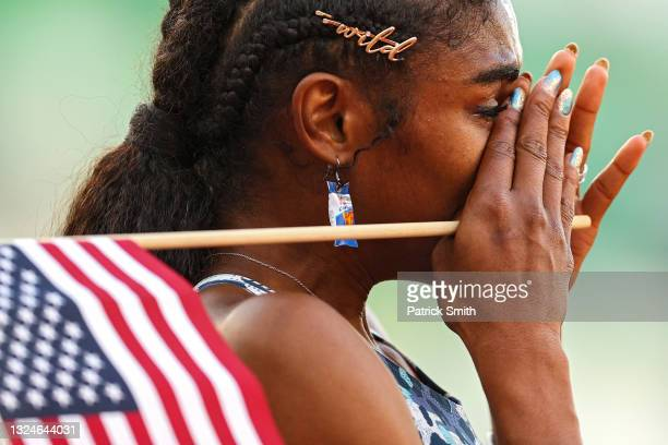 Christina Clemons cries after the Women's 100 Meter Hurdles Final on day three of the 2020 U.S. Olympic Track & Field Team Trials at Hayward Field on...