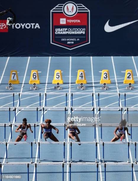 Christina Clemons Nia Ali Brianna McNeal and Keni Harrison compete in the Women's 100 Meter Hurdle Final during the 2019 USATF Outdoor Championships...